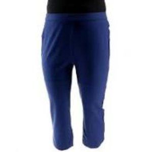 NWT SHAPE FX PONTE PULL ON NAVY ANKLE PANTS 16P